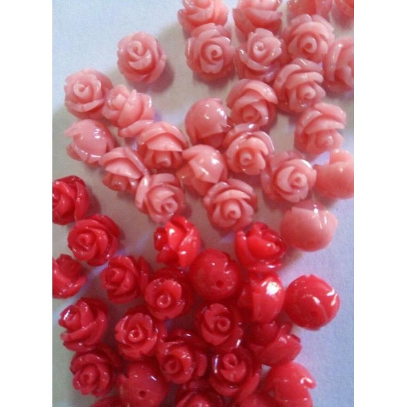 """Вставки """"Розы"""" розовый, 8мм"""